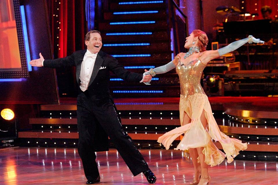 Steve Guttenberg and Anna Trebunskaya perform a dance on the sixth season of Dancing with the Stars.