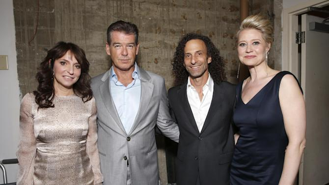 "Director Susanne Bier, Pierce Brosnan, Kenny G and Trine Dyrholm attend the premiere Of Sony Picture Classics' ""Love Is All You Need"", on Thursday, April, 25, 2013 in Hollywood, California. (Photo by Todd Williamson/Invision for Sony Pictures Classics/AP Images)"