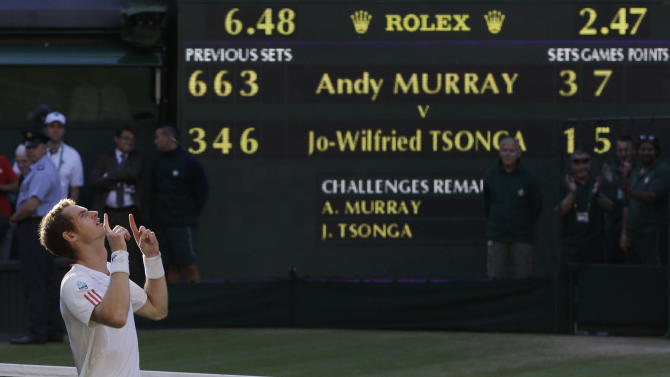 Andy Murray of Britain reacts after defeating Jo-Wilfried Tsonga of France during a semifinals match at the All England Lawn Tennis Championships at Wimbledon, England, Friday, July 6, 2012. (AP Photo/Alastair Grant)