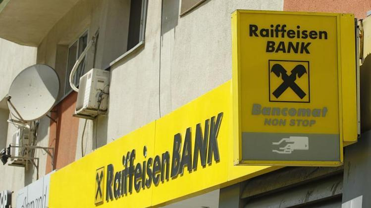 The Raiffeisen Bank logo is seen in downtown Bucharest