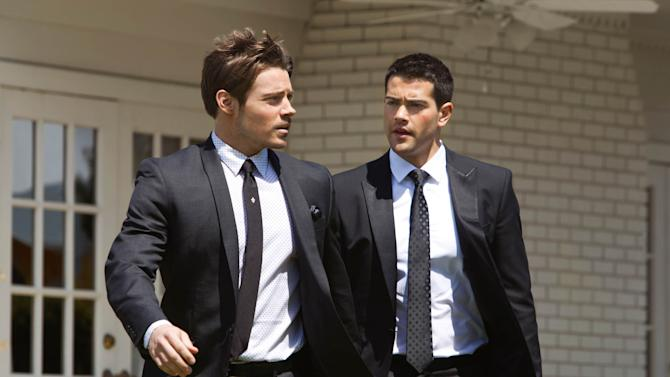 "This publicity image released by TNT shows Josh Henderson as John Ross Ewing, left, and Jesse Metcalfe as Christopher Ewing in a scene from ""Dallas,"" premiering Wednesday June 13, at 9:00 p.m. on TNT. (AP Photo/TNT, Erik Heinila)"