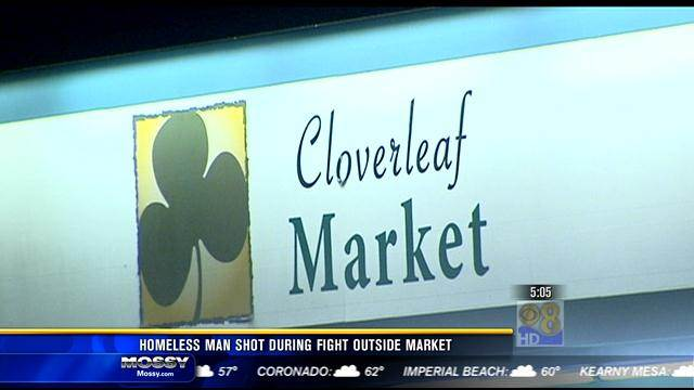 Homeless man shot during fight outside market