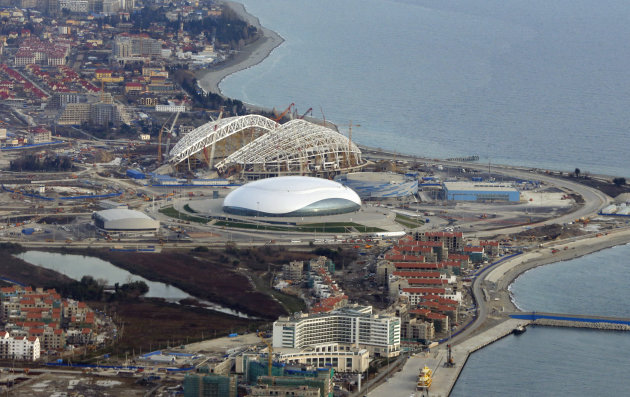 FOR STORY RUSSIA SOCHI YEAR TO GO -  In this photo dated Monday, Feb. 4, 2013, an aerial view of the Olympic Park as construction works continue in the lead up to the upcoming winter games in Sochi, R