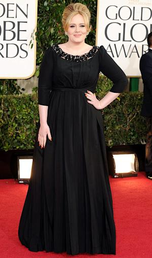 "Adele Debuts Post-Baby Body on Golden Globes Red Carpet, Thanks ""Lovely Son"""