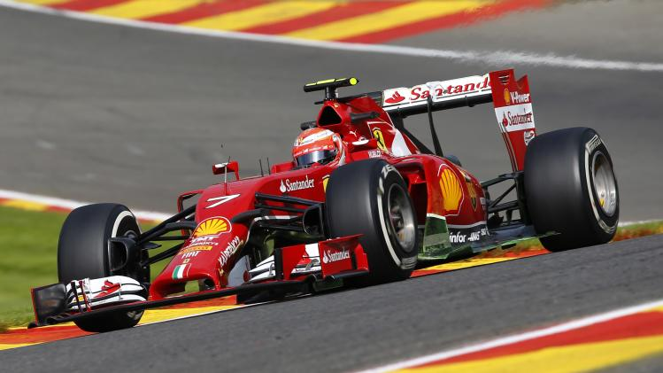 Raikkonen takes a curve during the first practice session at the Belgian F1 Grand Prix in Spa-Francorchamps