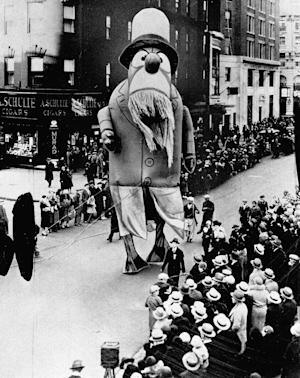1929 - A large outdoor float of Captain Nemo makes its way down the street during the Macy's Thanksgiving Day Parade in New York City, on Nov. 28, 1929. Originally known as the Macy's Christmas Parade, the Thanksgiving Day parade started in 1924. (AP Photo/File)