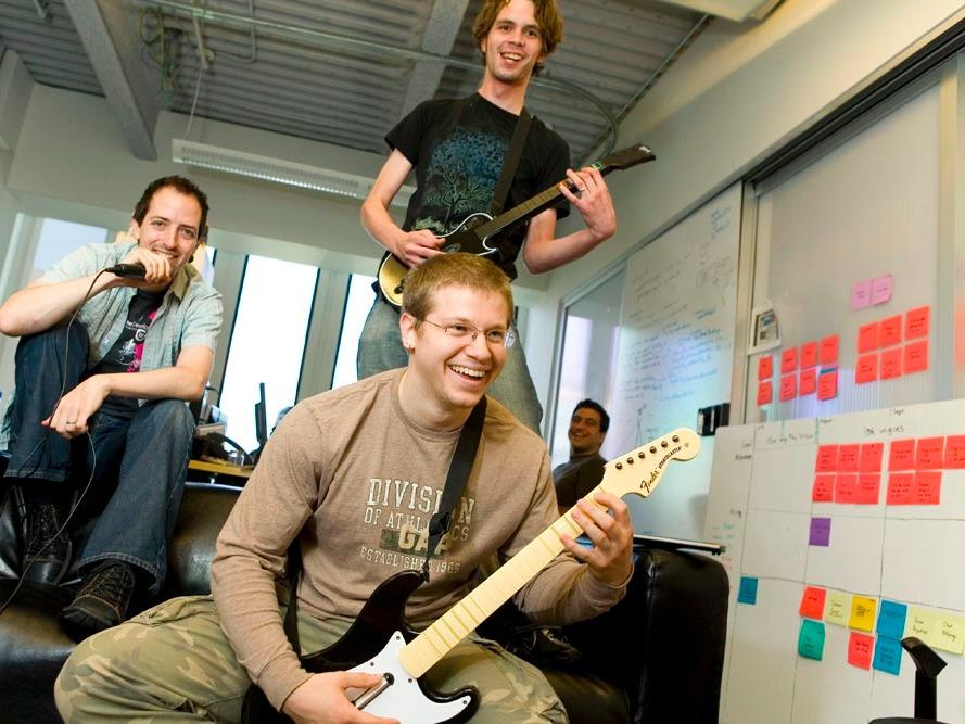 Why this startup wants employees to remix Taylor Swift, do one-armed push-ups, or play 'Rock Band' blindfolded in the office