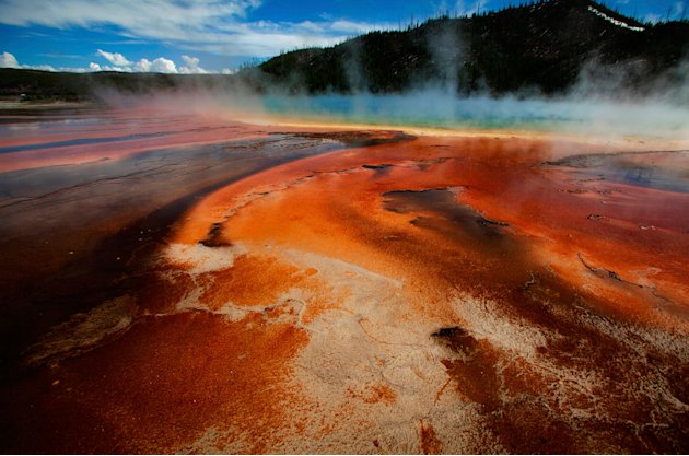 The Grand Prismatic Spring, the largest in the United States and third largest in the world, and it's colored bacteria and microbial mats in Yellowstone National Park, Wyoming, June 22, 2011. REUT