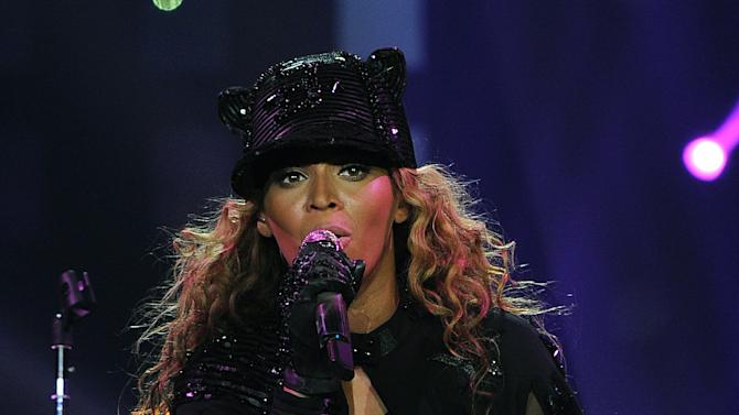 "Singer Beyonce performs on her ""Mrs. Carter Show World Tour 2013"", on Monday, April 22, 2013 at the Ziggo Dome in Amsterdam, Netherlands. Beyonce is wearing a custom hand beaded one-piece by Givenchey. (Photo by Frank Micelotta/Invision for Parkwood Entertainment/AP Images.Singer Beyonce performs on her ""Mrs. Carter Show World Tour 2013"", on Monday, April 22, 2013 at the Ziggo Dome in Amsterdam, Netherlands. Beyonce is wearing a custom hand beaded one-piece by Givenchey. (Photo by Frank Micelotta/Invision for Parkwood Entertainment/AP Images."