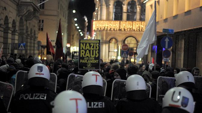 Austrian riot police block streets from protesters opposing the annual right-wing Freedom Party's Academic Ball near the Hoffburg palace in Vienna, on January 30, 2015