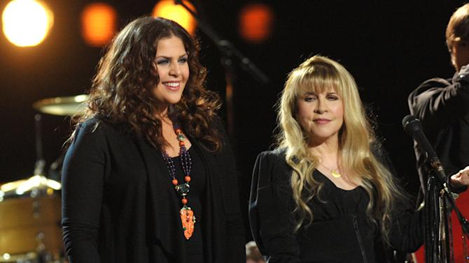 """FILE - In this Jan. 29, 2013 file photo, Hillary Scott of Lady Antebellum, left, performs with Stevie Nicks at the taping of """"CMT Crossroads"""" at Sony Studios in Culver City, Calif. The episode with Scott and Nicks airs on Friday, Sept. 13, 2013. (Photo by John Shearer/Invision/AP, File)"""
