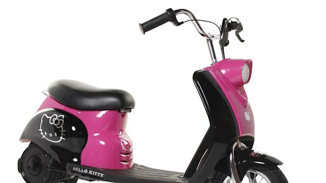This undated image provided by the U.S. Consumer Product Safety Commission shows a motor scooter with Hello Kitty graphics made by Zhejiang Qunying Vehicle Co. and distributed by Dynacraft BCS Inc. There are reports that the scooter can suddenly accelerate unintentionally. The battery-operated City Scooters are pink and black with Hello Kitty graphics on the front panel, footboard and rear fenders. They were made between Sept. 9, 2012 and Dec. 3, 2012. (AP Photo/U.S. Consumer Product Safety Commission)