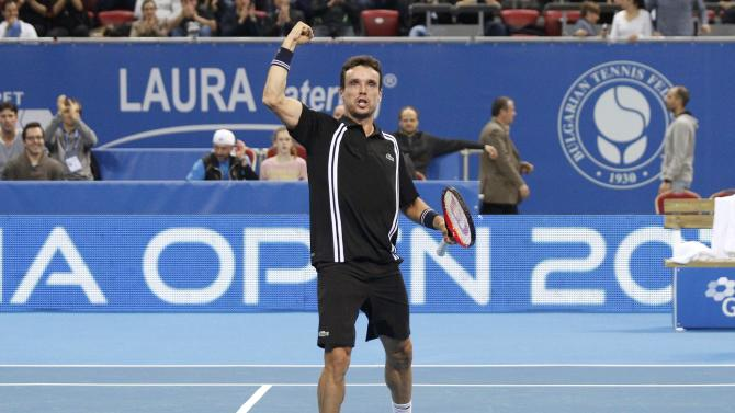 Spain's Bautista Agut celebrates winning final match at Garanti Koza Sofia Open 2016 ATP Tennis tournament in Sofia