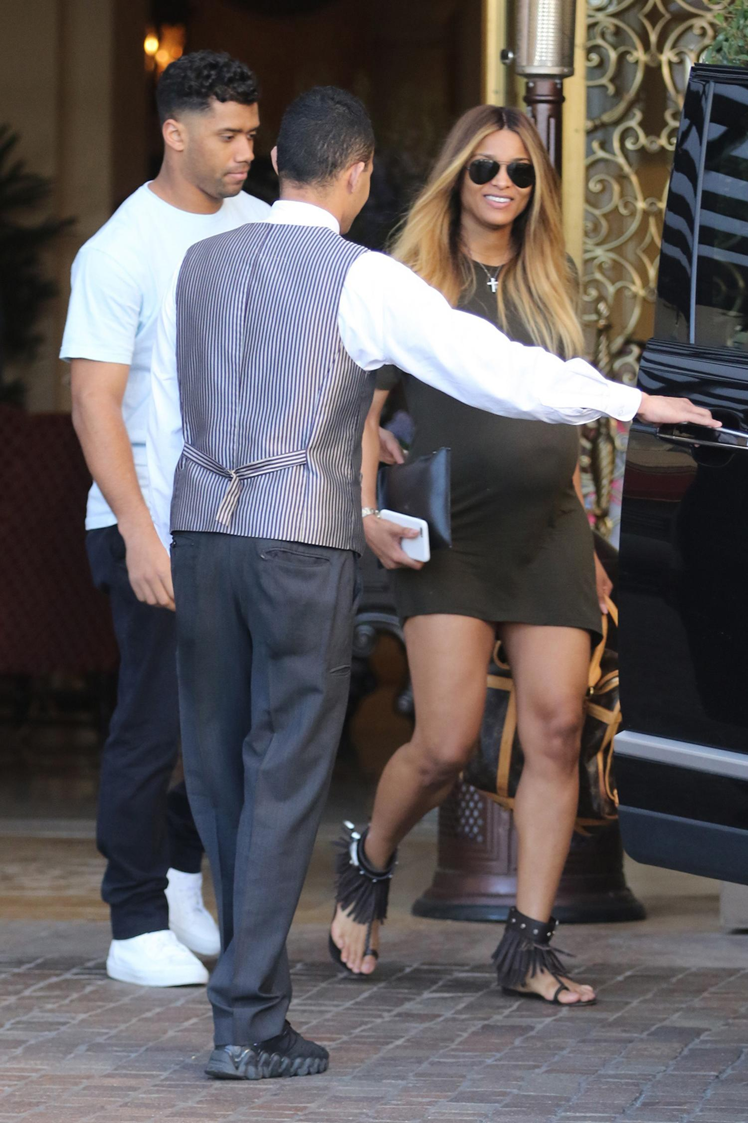 A Very Pregnant Ciara Steps Out in Beverly Hills with Hubby Russell Wilson