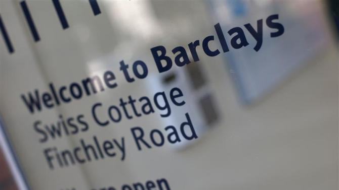 The entrance to the Swiss Cottage branch of Barclays is seen in London
