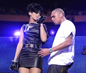 Chris Brown and Rihanna performs on stage during Z100's Jingle Ball 2008 in New York City on December 12, 2008 -- Getty Images