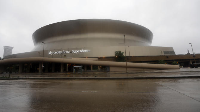 This Wednesday, Aug. 29, 2012 photo shows the Superdome as Hurricane Isaac hits in New Orleans. (AP Photo/David J. Phillip)