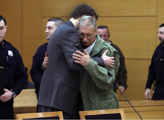 David Ranta is hugged by his attorney Pierre Sussman after Judge Miriam Cyrulnik freed him, in state Supreme Court in Brooklyn, New York,  Thursday, March 21, 2013. Ranta, 58, who spent more than two
