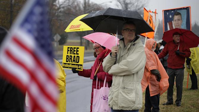 Demonstrators stand in support of Army Pfc. Bradley Manning outside of Fort Meade, Md., Tuesday, Nov. 27, 2012, where Manning is scheduled to appear for a pretrial hearing. Manning is accused of sending hundreds of thousands of classified Iraq and Afghanistan war logs and more than 250,000 diplomatic cables to the secret-spilling website WikiLeaks while he was working as an intelligence analyst in Baghdad in 2009 and 2010.  (AP Photo/Patrick Semansky)