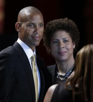 Reggie Miller poses with his sister, Cheryl Miller, prior to his induction into the Naismith Memorial Basketball Hall of Fame during an enshrinement ceremony at Symphony Hall in Springfield, Mass. Friday, Sept. 7, 2012. (AP Photo/Elise Amendola)