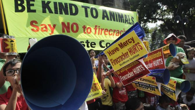 Animal lovers and other advocates make noise with their paper horns as they urge the public to refrain from using firecrackers to welcome the New Year, in Manila