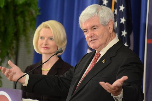 Republican presidential candidate and former House Speaker Newt Gingrich speaks at Louisiana College in Pineville, La., on Wednesday, March, 21, 2012 during his campaign tour. (AP Photo/The Daily Town