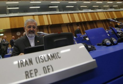 Iran's envoy to the International Atomic Energy Agency Ali Asghar Soltanieh attends the UN atomic agency members meeting in Vienna in September 2012. Iran could produce enough weapons-grade uranium to make an atomic bomb within two to four months and then would need an additional eight to 10 months to build the device, experts said Monday