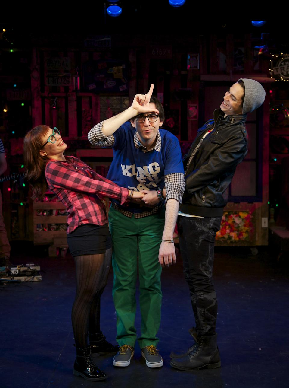 "This March 21, 2013 theater image released by Springer Associates PR shows, from left, Dawn Cantwell, Max Crumm and Jason Gotay during a performance of ""F#%king Up Everything, in New York. (AP Photo/Springer Associates PR, T Charles Erickson)"