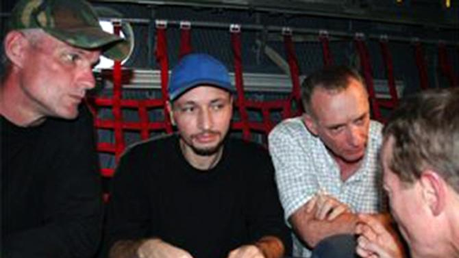 Image released by the US embassy in Colombia in July, 2008 shows US citizens Keith Stansell (L), Marc Gonsalves and Thomas Howes (R) after being rescued by the Colombian army from the Revolutionary Armed Forces of Colombia (FARC)