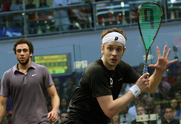James Willstrop plays against Egypt's Ramy Ashour during the World Cup Squash final in Chennai on March 12, 2011