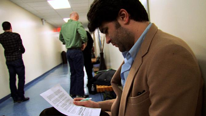 "This image released by Sunchaser Entertainment shows actor Ben Crawford in a scene from the documentary ""The Standbys,"" about actors who are hired to wait in the wings of Broadway shows each night, in case the star of the show gets injured or sick. (AP Photo/Sunchaser Entertainment)"