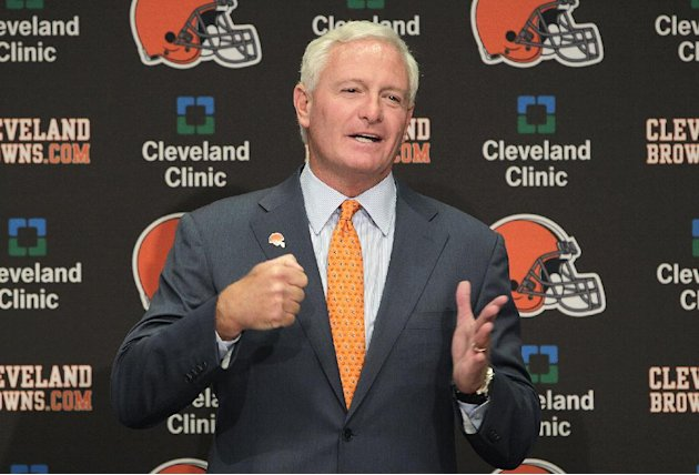 FILE - This Aug. 3, 2012 file photo shows Jimmy Haslam III during a news conference in Berea, Ohio. The sale of the Cleveland Browns to Haslam III was unanimously approved by NFL owners Tuesday, Oct.