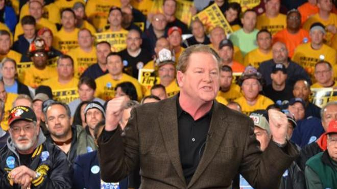Ed Schultz fires up the crowd at a live taping of The Ed Show in Columbus, Ohio, in 2011.