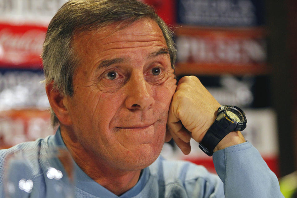 Uruguay's coach Oscar Tabarez listens  to reporters in Buenos Aires, Argentina, Friday, July 22, 2011. Uruguay will play Paraguay on Sunday in the final match of the Copa America.  (AP Photo/Eduardo Di Baia)