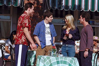 Chris Klein , Jason Biggs , Tara Reid and Thomas Ian Nicholas in Universal's American Pie 2