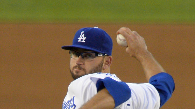 Los Angeles Dodgers starting pitcher Stephen Fife throws to the plate during the third inning of a baseball game against the San Francisco Giants, Tuesday, June 25, 2013, in Los Angeles. (AP Photo/Mark J. Terrill)