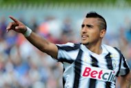 Juventus&#39; Arturo Vidal celebrates after scoring during a Serie A match on April 29. There are 17 places between them in Serie A but Juventus coach Antonio Conte has described Wednesday&#39;s visit of lowly Lecce as the most important match of the season