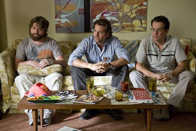 The Hangover Warner Brothers Production Photos 2009 Zach Galifianakis Ed Helms Bradley Cooper
