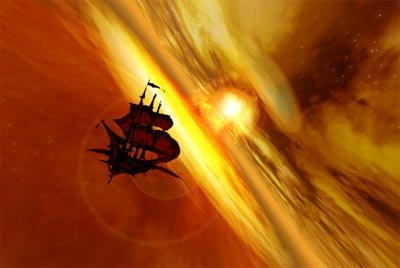 The ship soards into the sunset in Disney's Treasure Planet