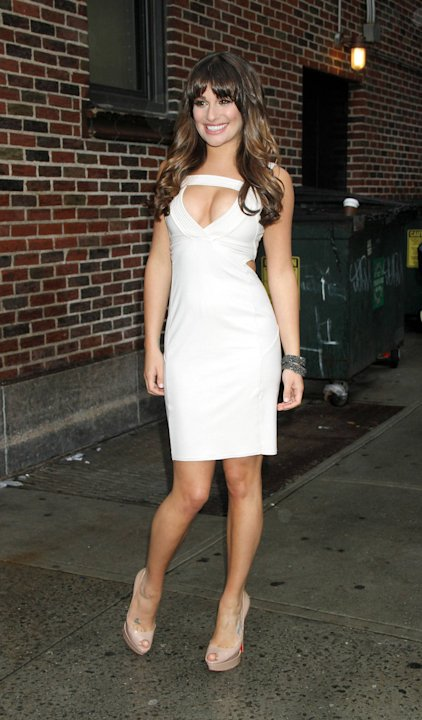 Lea Micheleat The Ed Sullivan Theater for 'The Late Show with David Letterman'  to talk about her Fox TV series Glee New York City, USA - 21.05.12 Mandatory Credit: Mr. Blue/WENN.com