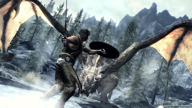 """In this video game image released by Bethesda Softworks, a Dragonborn hero battles one of the flying lizards in """"The Elder Scrolls V: Skyrim."""" (AP Photo/Bethesda Softworks)"""