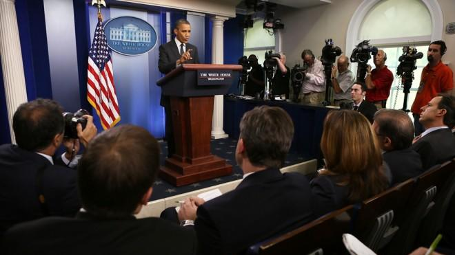 President Obama answers questions from the White House Press Corps.
