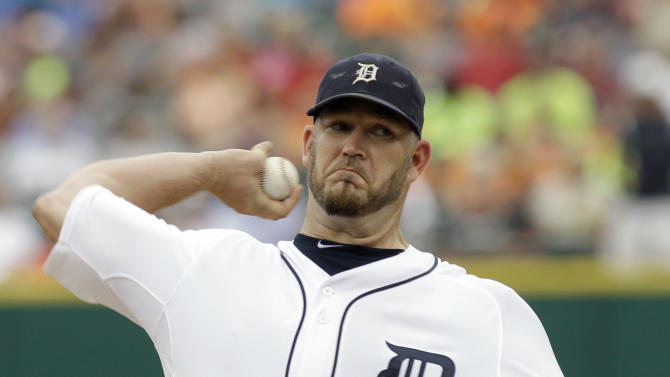 Detroit Tigers pitcher Brad Penny throws against the Los Angeles Angels in the first inning of a baseball game in Detroit, Thursday, July 28, 2011. (AP Photo/Paul Sancya)
