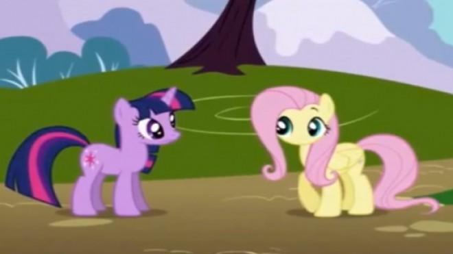 Twilight Sparkle is the purple pony on the left. Fluttershy is the yellow pony on the right. Duh!