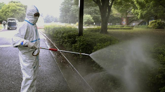 FILE - In this Aug. 28, 2014 photo, a worker sprays insecticide to get rid of mosquitos to prevent dengue fever at Yoyogi Park in Tokyo. Japan is urging local authorities to be on the lookout for further outbreaks of dengue fever, after confirming another 19 cases that were contracted at a popular local park in downtown Tokyo. (AP Photo/Kyodo News, File) JAPAN OUT, MANDATORY CREDIT