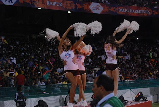 Cheerleaders during the match between Kolkata Knight Riders and Delhi Daredevils Played at Shaheed Veer Narayan Singh International Stadium, Raipur on on May 1, 2013. (Photo: IANS)