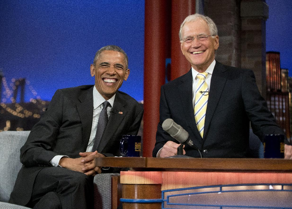 Obama jokes about a future playing dominoes with Letterman