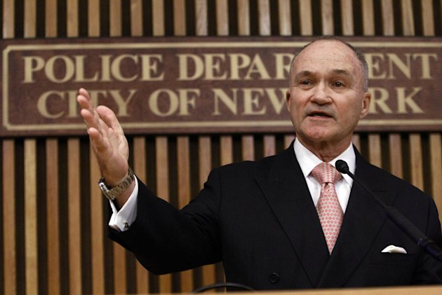 FILE - In this Feb. 24, 2012 file photo, New York Police Commissioner Ray Kelly gestures while responding to questions during a news conference in New York. Kelly on Thursday, March 15, 2012 challenged city council members who want to create an inspector general to regulate the department's surveillance of Muslims, saying his department needs no additional oversight. (AP Photo/Frank Franklin II, File)