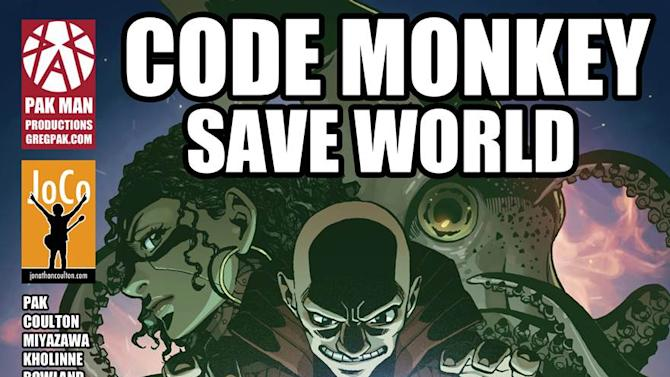 """This comic book cover image released by Pak Man Productions shows """"Code Monkey Save the World,"""" by musician Jonathan Coulton and writer Greg Pak. The pair turned to Kickstarter Monday to fund the 60-page, four-part graphic novel that will be released digitally through Monkeybrain Comics and Comixology, followed by a paperback edition. (AP Photo/Pak Man Productions)"""