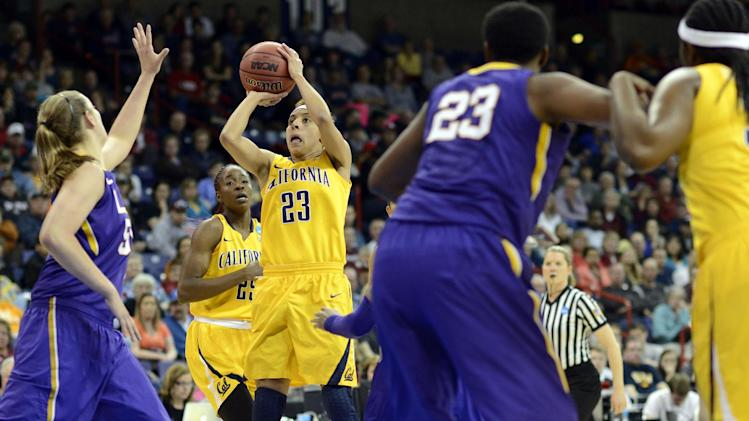 California's Layshia Clarendon (23) shoots against LSU in the first half of a regional semifinal game in the NCAA women's college basketball tournament, Saturday March 30, 2013 in Spokane, Wash. (AP Photo/Jed Conklin)
